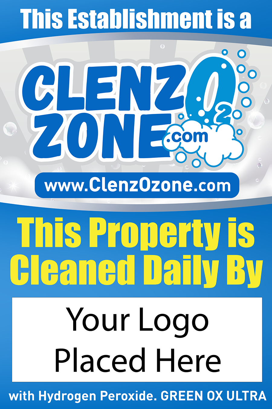 24x36 ClenzoZone Sanitized Vendor Signs with A Frame