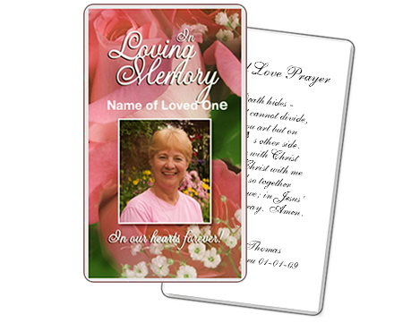 Memorial Prayer Cards Laminated with 5 Mil - Click Image to Close